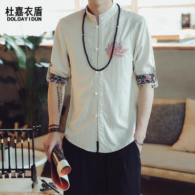 中国风男式休闲亚麻衫衬男盘扣棉麻衬衣男士刺绣短袖衬衫男七分款