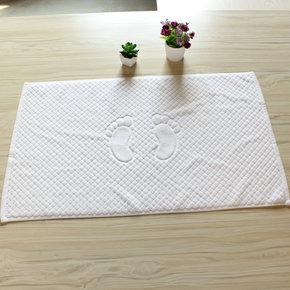 2条包邮宾馆酒店浴室客房 加厚纯棉纯白地垫地巾舒适耐用防滑防水