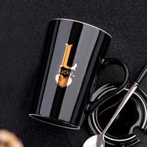 创意陶瓷杯子情侣咖啡杯简约大容量马克杯带盖勺男女家用水杯茶杯