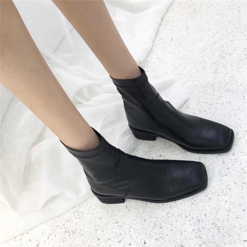 韩版简约百搭弹力靴平跟中跟方头短筒靴骑士靴切尔西米白色女靴子