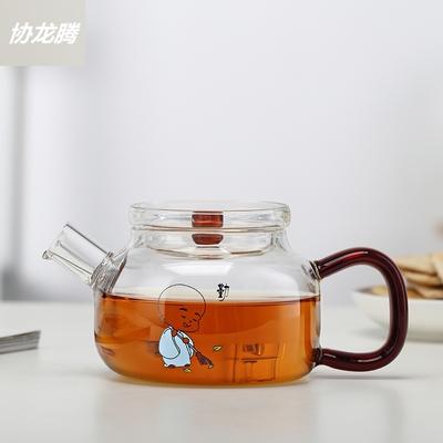 协龙腾 耐热玻璃壶煮茶器250ml烧水壶花茶壶过滤嘴热水壶透明泡茶