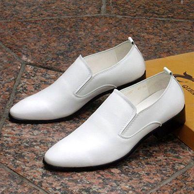男式皮鞋男士韩版潮流真皮英伦商务正装尖头白色休闲男鞋夏季透气