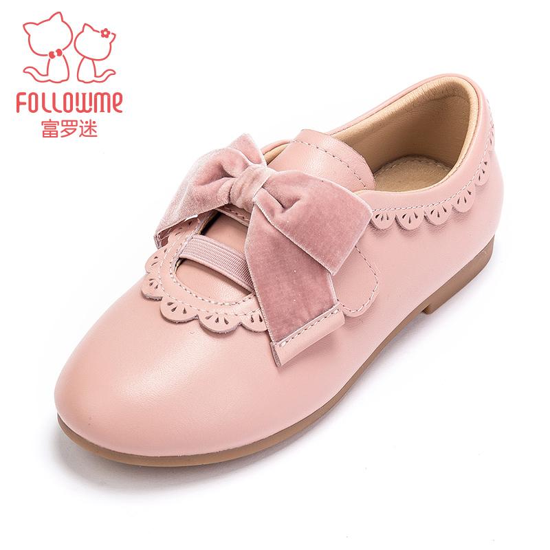 富罗迷女童皮鞋2019春季新款黑色英伦风真皮儿童公主鞋学生单鞋子