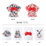 Crane crane retro Japanese girls kimono spring and summer female baby dress pajamas show clothes red suit