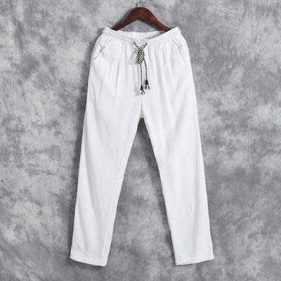 中国风男装复古亚麻裤宽松直筒大码男士棉麻休闲裤薄款青年长裤子