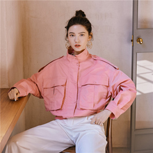 Original retro pilot girl pink jacket Short Shoulder stamp bat sleeve big pocket tooling wind short jacket spring