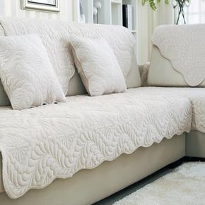 纯色米白色高档短毛绒沙发垫巾加厚现代布艺防滑坐垫冬季欧式定制