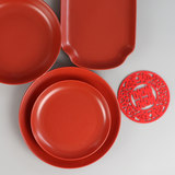 Red dishes, dishes, household dishes, red candy dishes, round rectangular dishes, ceramics dishes