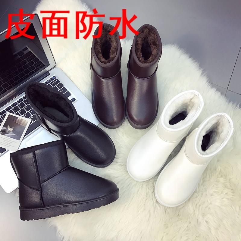 白色雪地靴厚底短靴