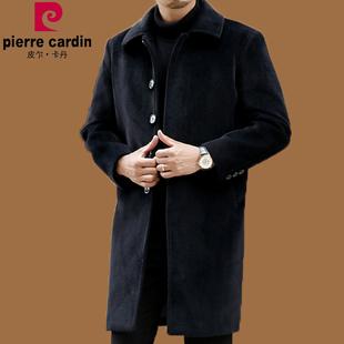 外套 男装 加绒毛呢风衣中长款 中老年羊绒大衣男士 冬季皮尔卡丹韩版