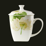 530ml bone china square with lid mug home large cup ceramic tea cup office water cup
