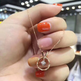 18K rose gold diamond pendant necklace clavicle chain female flower branch diamond set chain female fashion exquisite
