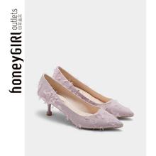 honeyGIRL2019春季新款网红尖头高跟鞋细跟婚鞋百搭气质单鞋浅口图片