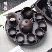 臻惜黑陶瓷汝窑紫砂干泡茶盘功夫茶具套装家用简约小日式茶杯茶壶