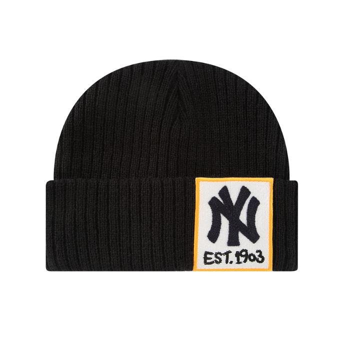 韩国潮牌 MLB 正品秋冬针织帽男女贴布卷边护耳毛线帽 32CPBY841