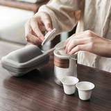 Travel tea set portable bag portable kungfu fast passenger cup tea cup a pot four cups of tea two cups teapot