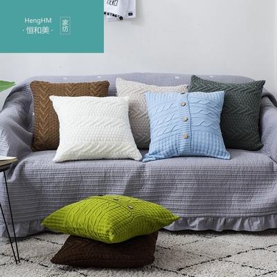 恒和美北欧毛线编织抱枕沙发装饰抱枕套腰垫地板坐靠垫正方形枕头