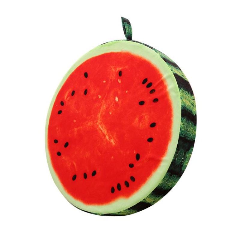 创意仿真3D水果坐垫学生靠垫抱枕加厚圆形儿童可爱卡通西瓜椅垫女