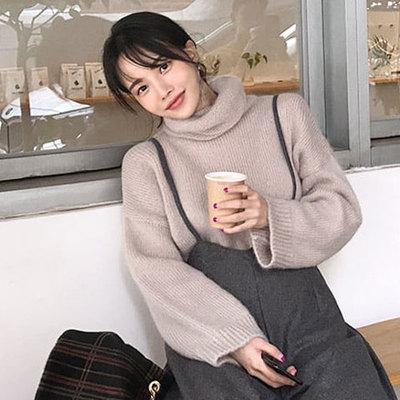现韩国正品代购女装MN冬装气质加分纯色高领落肩长袖套头毛衣