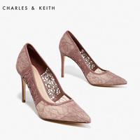 CHARLES&KEITH春季女士单鞋CK1-60280088蕾丝淑女尖头高跟鞋