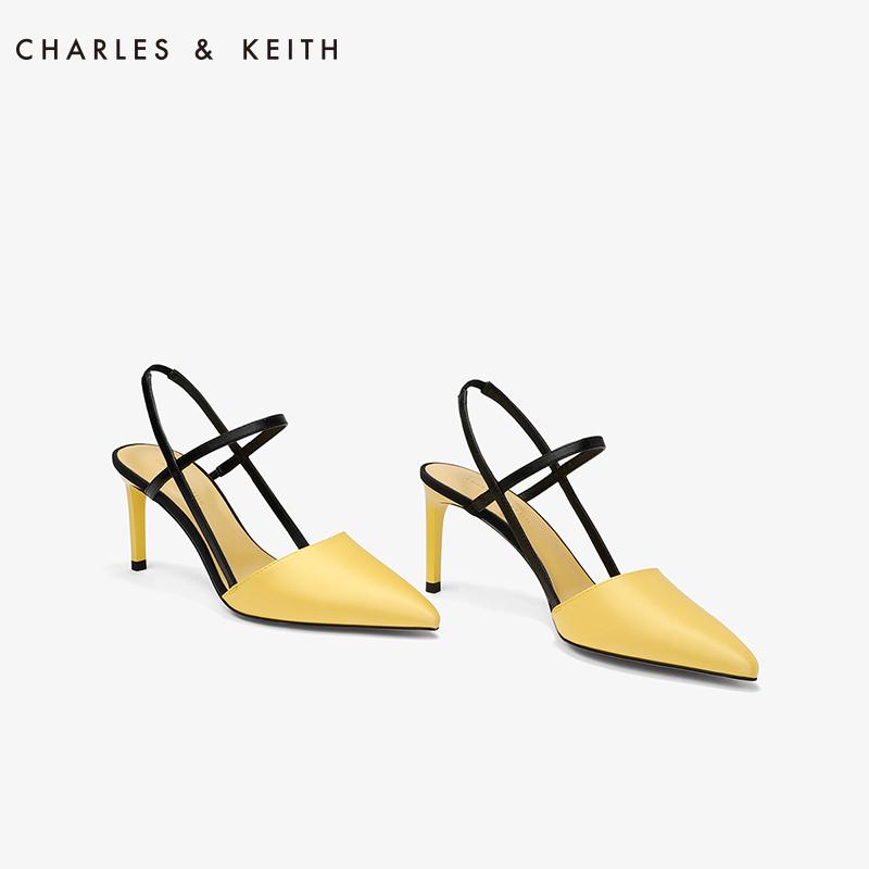 CHARLES&KEITH女士单鞋CK1-60920090尖头后绊带装饰通勤简约凉鞋