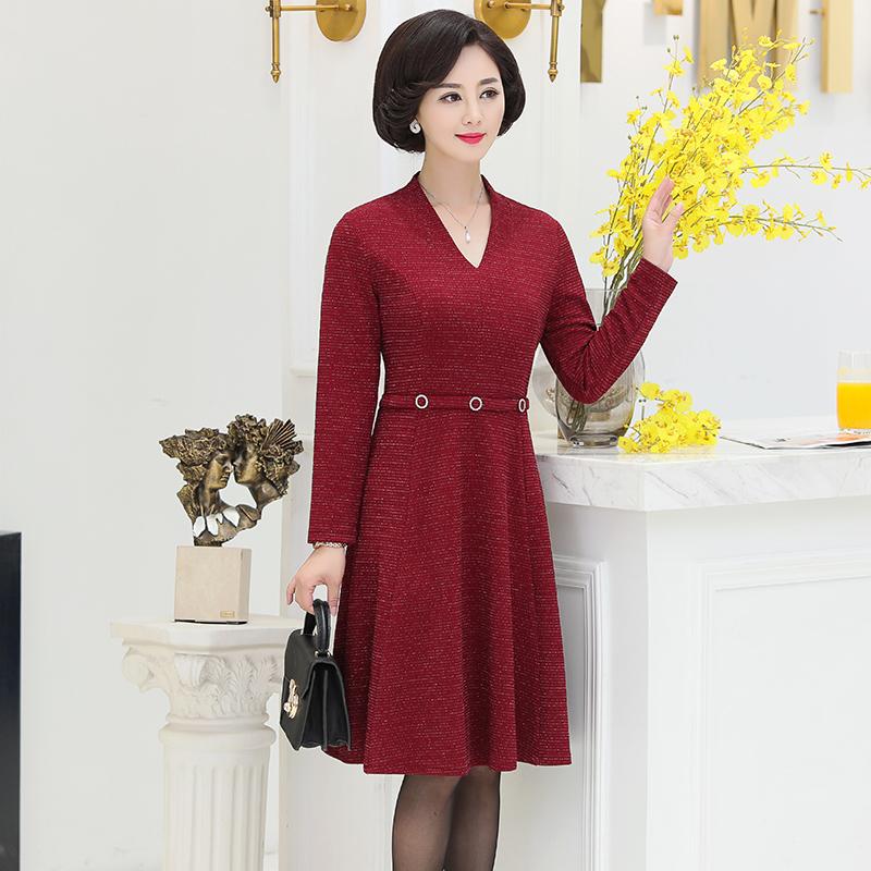 中年妈妈装40岁50中老年女装连衣裙 高贵气质过膝裙子秋季新款