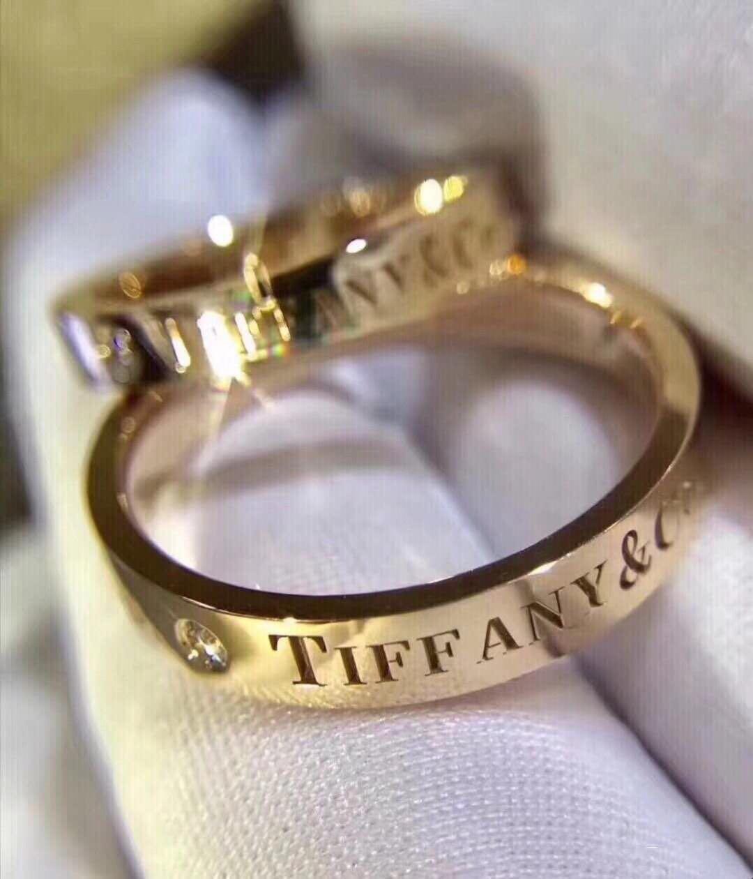 t家提夫尼925纯银18K男女情侣款对戒玫瑰彩金白蒂凡尼戒指