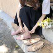 ins夏季新款韩版浅口单鞋平底绑带女鞋复古包头休闲百搭罗马凉鞋