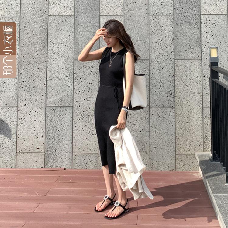 韩国代购女装2019夏季新款 中长款收腰显瘦无袖针织连衣裙AG-AU14