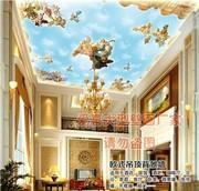 大型壁画油画天使欧式风格中世纪吊顶背景墙卧室墙布墙纸壁纸