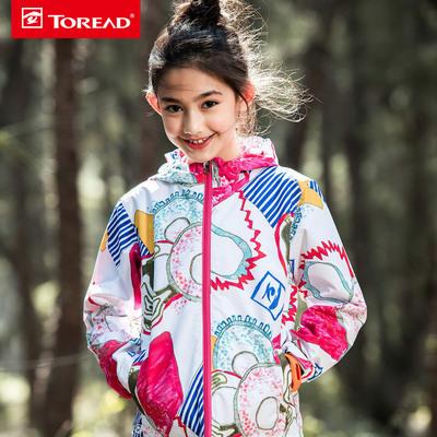 探路者童裝 18春夏新款戶外女童單層沖鋒衣防潑水印花QABG84054