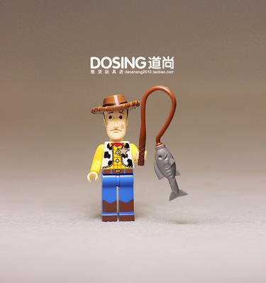 积木人 拼插 玩具总动员 胡迪 钓鱼 关节可动 人偶公仔玩具摆件