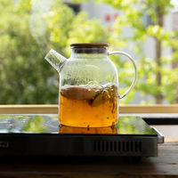 Japanese-style high temperature glass transparent fruit flower teapot with candle heating afternoon tea set tea filter