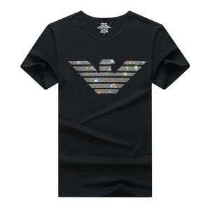 欧洲站潮牌烫钻t恤男短袖社会人小伙t恤个性加大码胖子肥佬半袖衫