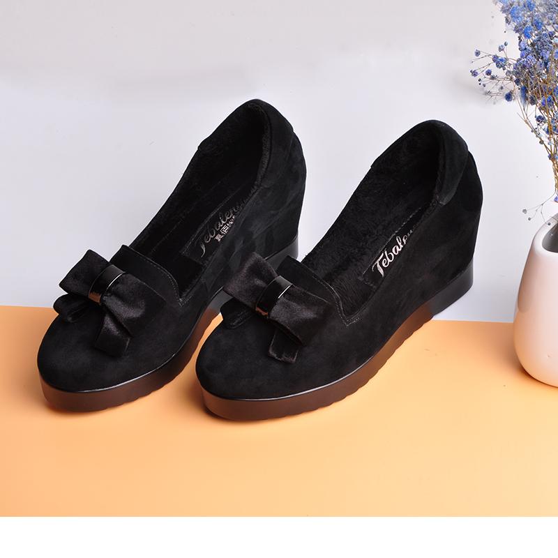 休闲鞋一脚蹬女鞋坡跟内增高