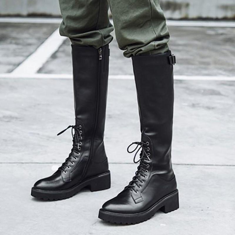 真皮骑士靴女粗跟中跟靴子光面牛皮高筒靴圆头厚底侧拉链长靴大码