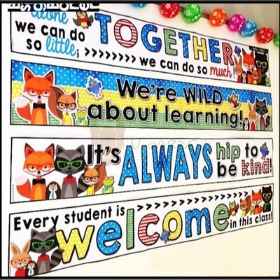 新Classroom大标题 banner英语教室背景墙装饰幼儿园教师教具横幅