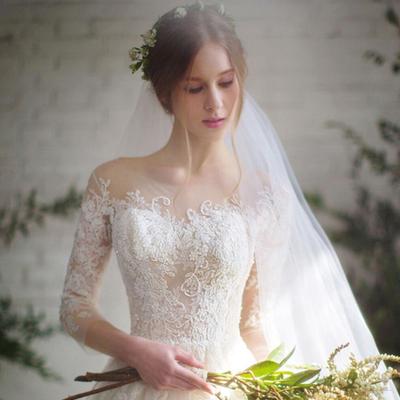 出租婚纱礼服2018新款新娘结婚一字肩中袖拖尾蓬蓬裙森系轻纱租赁