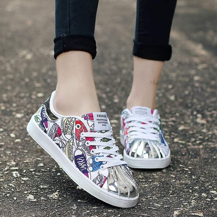 乔丹大码女鞋韩版百搭平底板鞋女鞋青少年鞋子潮流夏季运动鞋女防