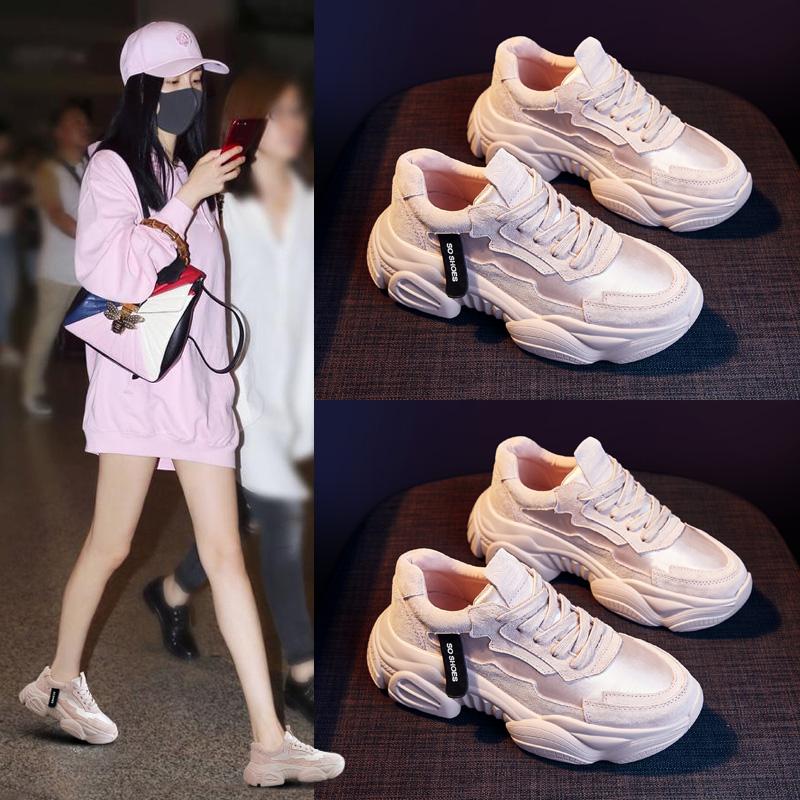 老爹女鞋冬季2019新款百搭2020春季粉色厚底运动休闲春鞋ins潮鞋