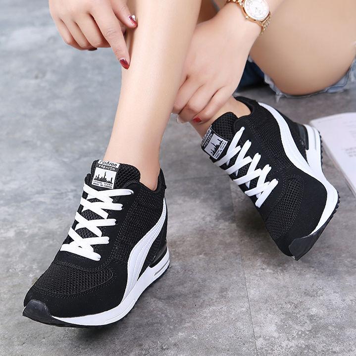 内增高女鞋休闲鞋春夏秋网面透气隐形内高跟旅游运动鞋女显廋单鞋