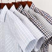 纯棉格子衬衫 薄款 夏季男士 短袖 中年爸爸装 全棉老人爷爷衬衣父亲节