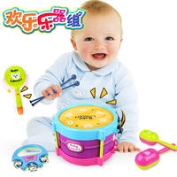 Happy musical instrument set 5 piece waist drum sand hammer small hand rattle combination baby puzzle music toy
