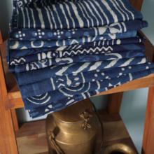 秋款 日式文艺蓝染手工印花轻薄纯棉围巾披肩旅行防晒易收纳空调房