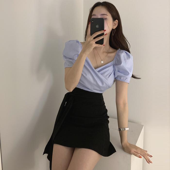韩国代购东大门2019夏装新款女装简约面搭纯色半身裙短裙