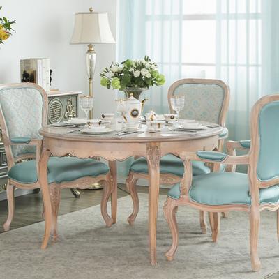 法美家 歐式法式古典復古原木實木雕刻圓形輕奢餐桌椅組合6人餐廳今日特惠