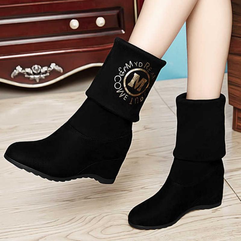 两种穿法2018秋冬女鞋韩版短靴平底女靴百搭马丁靴内增高中筒靴
