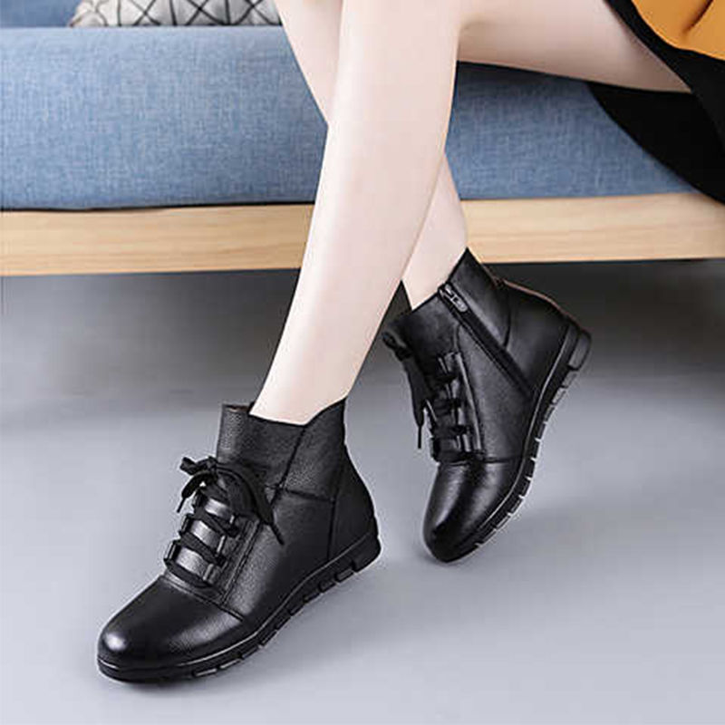 【圣美鸟】春季升级舒适妈妈女短女靴软底一脚蹬中年平底女鞋