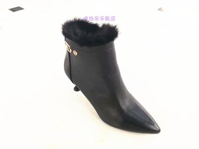 卓怡牛皮女鞋18M100-2正品专柜2018冬季新款尖头细跟时尚加绒棉靴