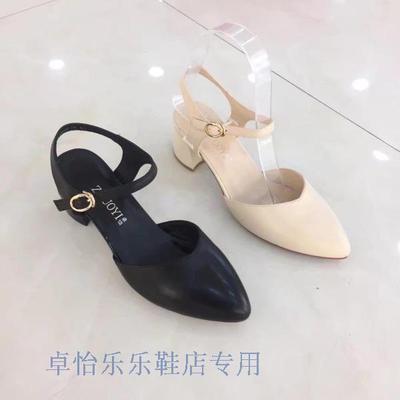 卓怡女鞋91025正品专柜2017夏季新款真皮中粗跟后空特价女凉鞋